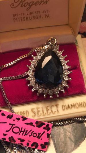 Betsey Johnson teardrop shaped blue gem stone 3.5 mm on silver chain for Sale in Northfield, OH