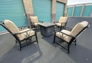 6 piece outdoor patio set furniture with cushions & gas fire pit 🔥🔥🔥 FREE DELIVERY WITHIN 5 MILES 👍 for Sale in Las Vegas, NV