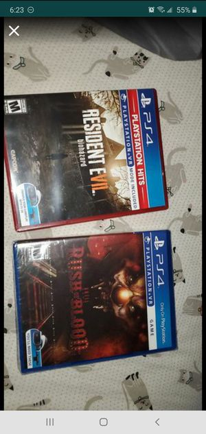 Resident Evil 7 Biohazard & Until Dawn Rush of Blood VR PS4 for Sale in Cary, NC