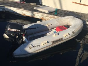Solid 2003 9 feet rib inflatable with 2003 Evinrude motor 4 stroke for Sale in Wilmington, CA