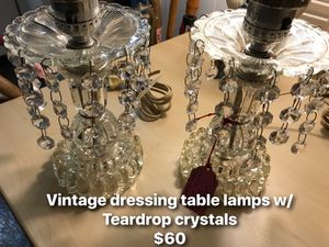 Vintage side table teardrop crystal lamps! for Sale in Portland, OR