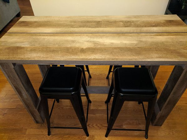 Wood Table and 4 Padded Bar Stools