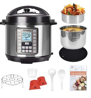 MOOSOO 9-in-1 Electric Pressure Cooker with LCD, 6QT Instant Programmable Pressure Pot, 15 One-Touch Programs with Deluxe Accessory Set for Sale in Burke, VA