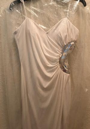 Prom dress white / silver open on side very elegant for Sale in Davenport, FL