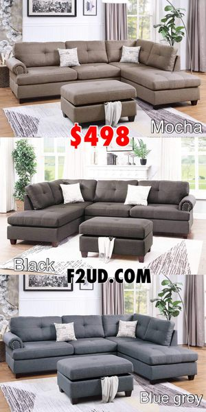New mocha, black, blue grey polyfiber fabric sofa Sectional with storage Ottoman & nailhead trim for Sale in Ontario, CA