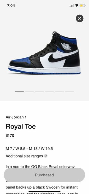 Royal Toe 1s Size 10 for Sale in The Bronx, NY