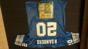champion apperal barry sanders jersy /w1990 starting line up sports superstars collectables action figure and rookie card never opened for Sale in Scottsdale, AZ