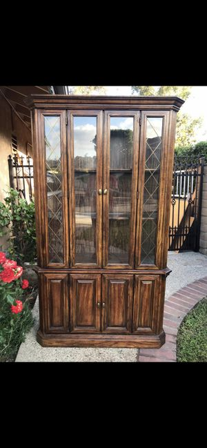 Antique china cabinet with light in a really good condition for Sale in Irvine, CA