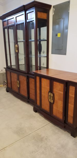 Wood and glass armoire and chest for Sale in Vancouver, WA