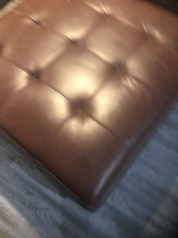 Large Brown Pleather Ottoman