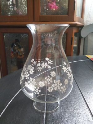 Vintage 1980 Pyrex Glass Snowflake Hurricane Oil Lamp Shade for Sale in Wilmington, CA