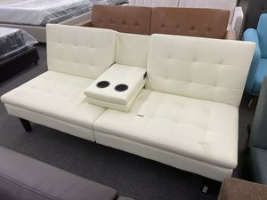 Scratch and Dent NEW: Vanilla Faux Leather Sofa Futon with Cupholders for Sale in Houston, TX