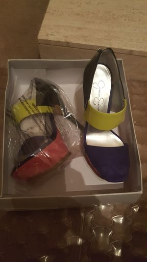 Jessica Simpson Purple hot pink lime black patent leather heels never worn for Sale in Nashville, TN