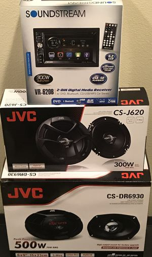 """New SOUNDSTREAM 6.2"""" inch LCD Double Din Touch Screen Monitor w/ BLUETOOTH/DVD/CD/USB/MP3 Car Audio Stereo + (2) JVC 6.5"""" AND (2) JVC 6x9"""" Speakers for Sale in Hemet, CA"""