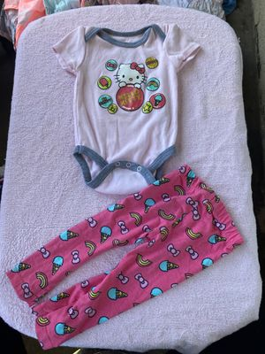 Hello kitty onesie with bottoms 6-9 mon for Sale in Buena Park, CA