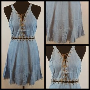 Denim style size large criss cross string dress for Sale in Huntsville, AR