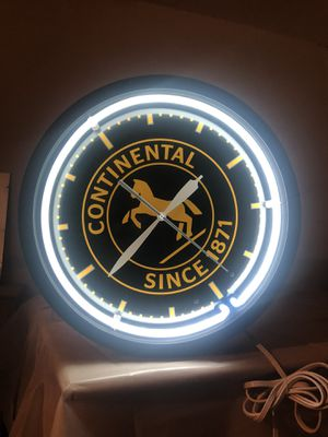 Neon Continental Since 1871 Tire Horse Clock 20 for Sale in Los Angeles, CA