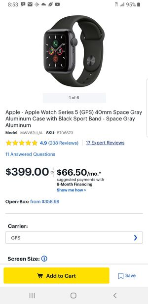 Apple Watch Series 5 GPS 40MM Space Gray for Sale in Fairfax, VA