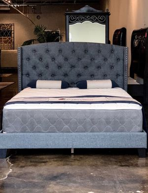 Queen size Smokey gray bed with mattress and free delivery $339 for Sale in Austin, TX