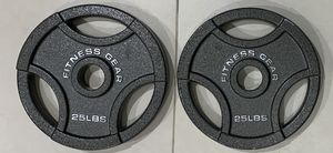 Brand new pair of 25lbs Olympic weight plates, priced to sell. Reasonable offers considered. Par de discos de pesas de 25 lbs for Sale in Miami, FL