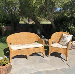 Rattan couch & arm chair for Sale in San Jose, CA
