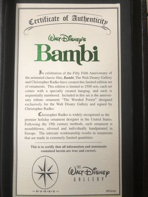 Christopher Radko limited edition Bambi Christmas ornament set for Sale in Squaw Valley, CA
