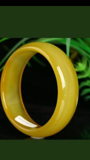 67.5 mm Cert'd Natural Yellow Agate Chalcedony Jade Bangle for Sale in Richmond, CA