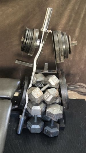 Free weights, dumbbells, straight bar & Olympic weight tree for Sale in Miami, FL