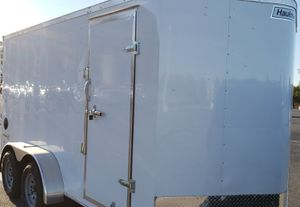 2021 16 x 7 enclosed cargo trailer rear ramp side door breaks for Sale in Hesperia, CA