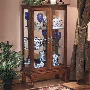 NEW* Oak 2 Door Glass Lighted Footed Curio Display Cabinet Showcase Hutch for Sale in Avon, MN