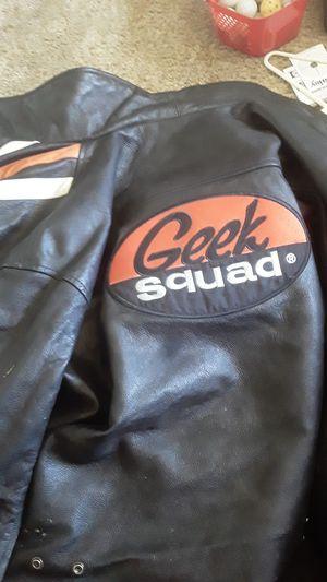 Geek squad leather motorcycle jacket. for Sale in Denham Springs, LA