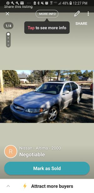 Nissan Altima 2000, does not run, buy for parts for Sale in Lakeside, AZ