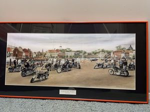 """Limited Addition Framed """"On The CityDock"""" Annapolis lithograph of Motorcycle Riders for Sale in Eldersburg, MD"""