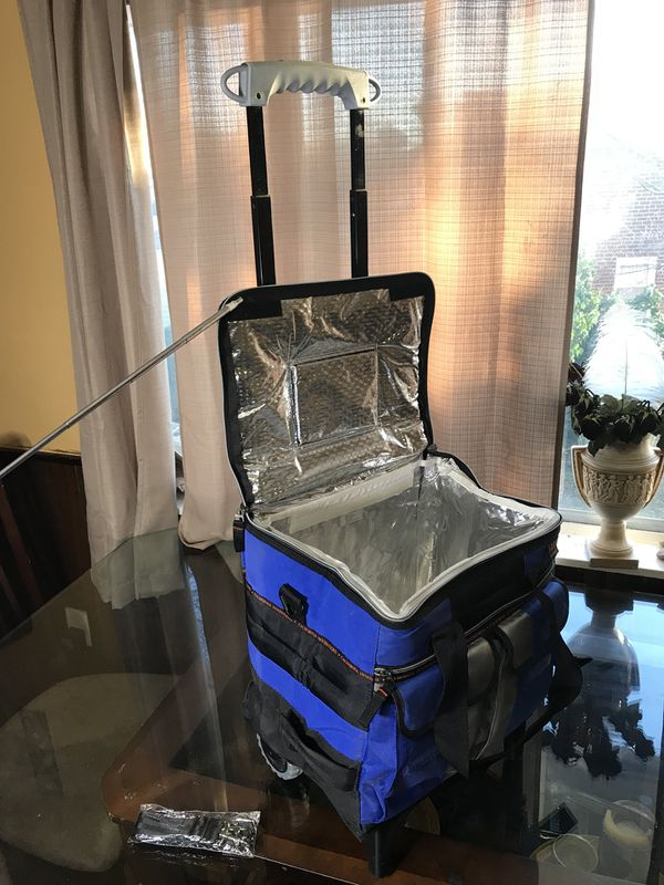 50 cans high performance collapsible cooler with Foldable all-terrain cart!!