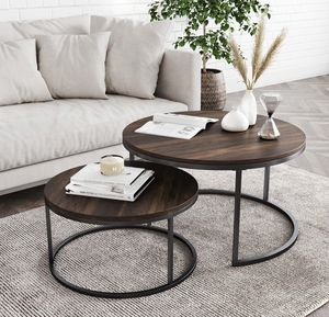 Round Nesting or Stacking Coffee Table Set of 2 Wood Finish Metal Frame, Warm Nutmeg/Black for Sale in Ontario, CA