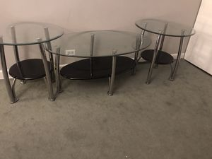 Ashley 3 pc coffee glass table set for Sale in Aurora, IL
