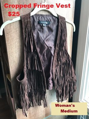 Brown Suede Leather Cropped Fringe Hippie Vest for Sale in Modesto, CA