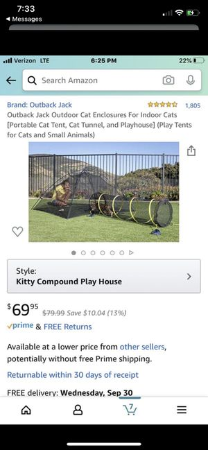 Outback Jack Outdoor Cat Enclosures For Indoor Cats [Portable Cat Tent, Cat Tunnel, and Playhouse] (Play Tents for Cats and Small Animals) for Sale in San Diego, CA