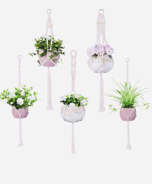 Macrame Plant Hanger Set, 5 Packs Handmade Cotton Rope Flower Pot Indoor Holders for Home Decoration, 4 Different Sizes for Sale in Las Vegas, NV