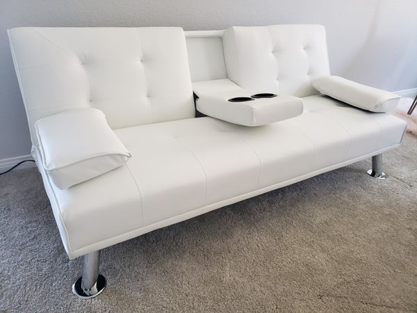 NEW Stylish White Futon / Couch / Sofa / Bed