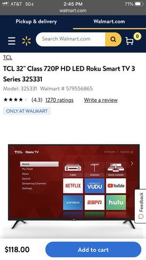 TCL Roku 32' Smart TV for Sale in South El Monte, CA