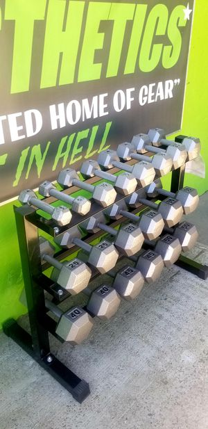 NEW IN BOX 5-50 HEX DUMBBELLS WEIGHTS SET & 3 LEVEL DUMBBELL RACK for Sale in Queens, NY