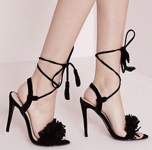 Black wrap around fringe heel for Sale in Washington, DC