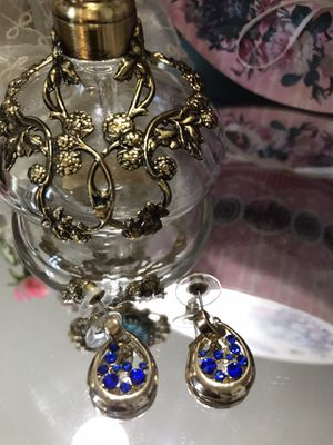 Pretty! Gold Earrings with blue Sapphire crystal Stones for Sale in Gainesville, VA