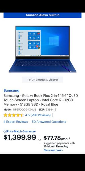 """2020 Samsung Galaxy Book Flex 2-in-1 15.6"""" QLED Touch Laptop Intel Core i7 12GB 512GB SSD Royal Blue for Sale in Elk Grove, CA"""