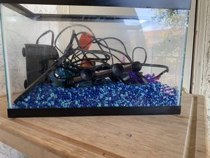 Fish aquarium +heater+filter+LED light+ornaments +pebbles for Sale in San Diego, CA
