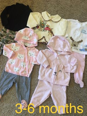 Baby girl clothes/sweat pants, shirts, long sleeve size 3-6 months for Sale in Edgewood, WA