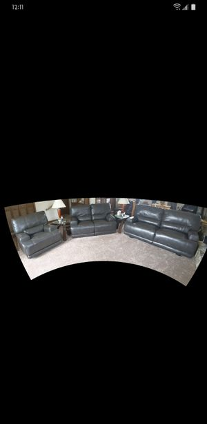 3 pc Gray Reclining Living Room set for Sale in Graham, NC