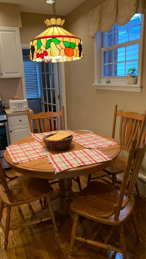 Wood kitchen set with Tiffany lamp for Sale in Philadelphia, PA
