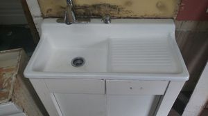 Farm sink with side cabinet and shelving unit for Sale in Spartanburg, SC